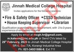 Jinnah Medical College Hospital JMCH Karachi Jobs 2020