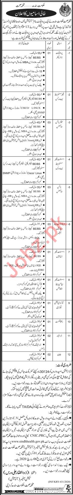Sindh Health Department Job 2020 in Karachi