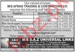SAZ Universal Links Karachi Jobs 2020