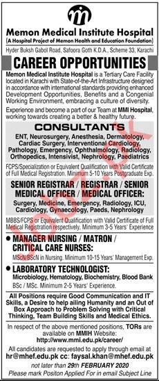 Memon Medical Institute Hospital Jobs 2020 in Karachi