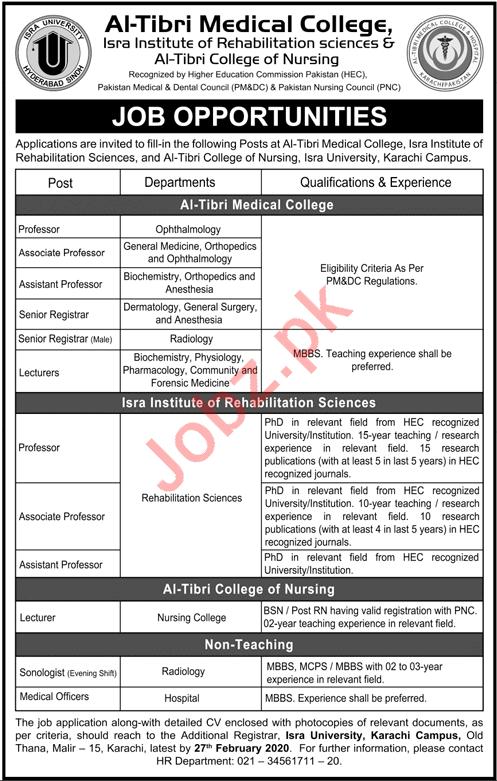 Al Tibri Medical College Jobs 2020 in Karachi