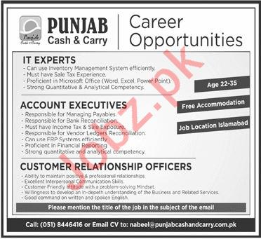 Punjab Cash and Carry PCC Jobs 2020 in Islamabad