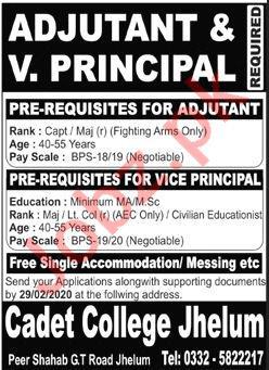 Cadet College Jhelum Punjab Jobs 2020