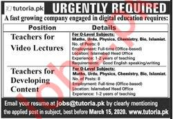 Tutoria Multinational Company Islamabad Jobs 2020