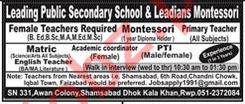 Leading Public Secondary School Jobs 2020 in Rawalpindi