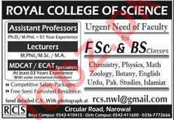 Royal College of Science Teaching Staff Jobs 2020