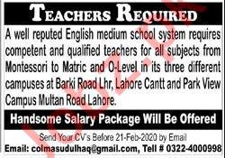 Teaching Staff Jobs in English Medium School System
