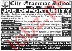 City Grammar School Jobs 2020 in Rawalpindi