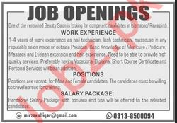 Beauty Salon Jobs 2020 in Islamabad & Rawalpindi