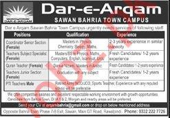 Dar E Arqam Bahria Town Campus Jobs 2020