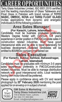 Tariq Glass Industries Limited Jobs 2020 in Lahore