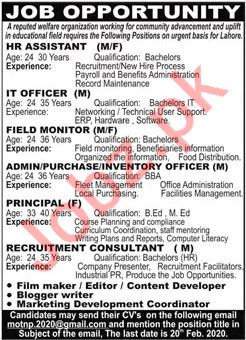 HR Assistant & IT Officer Jobs 2020 in Lahore