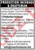 Production Incharge & Draftsman Jobs 2020