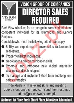 Vision Group Islamabad Jobs 2020 for Director Sales