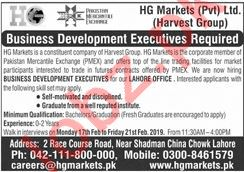 HG Markets Lahore Jobs 2020 Business Development Executive