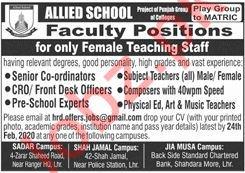 Allied School Lahore Jobs 2020 for Female Teachers