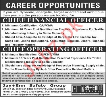 Jay Enn Safety Group Faisalabad Jobs 2020 Financial Officer