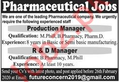 Production Manager & R&D Manager Jobs 2020