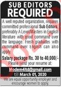 Sub Editor Jobs 2020 in Lahore