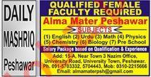 Alma Mater School Faculty Jobs 2020 in Peshawar KPK