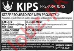 KIPS Preparations Lahore Jobs 2020