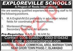 Exploreville Schools Islamabad Jobs 2020