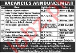 Fatima Public School & College Islamabad Jobs 2020