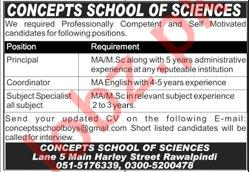 Concepts School of Sciences Rawalpindi Jobs 2020