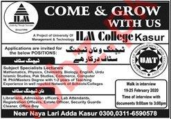 ILM College Kasur Jobs for Teaching & Non Teaching Staff
