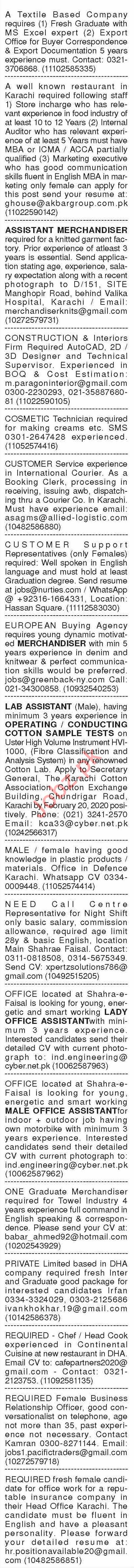Dawn Sunday Classified Ads 16 Feb 2020 for General Staff