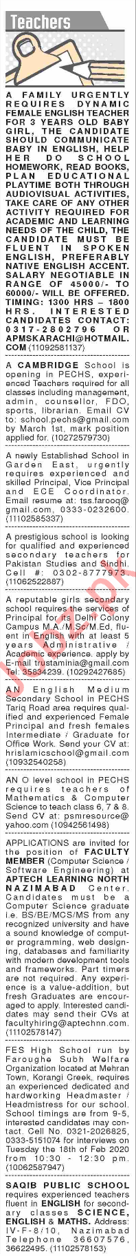 Dawn Sunday Classified Ads 16 Feb 2020 for Teaching Staff