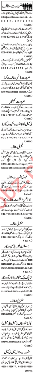 Nawaiwaqt Sunday Classified Ads 16 Feb 2020 Office Staff