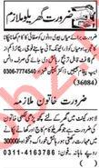 Nawaiwaqt Sunday Classified Ads 16 Feb 2020 for House Staff