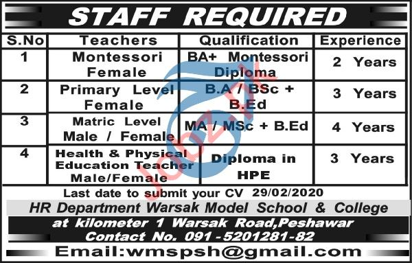 Warsak Model School & College Jobs 2020 in Peshawar KPK
