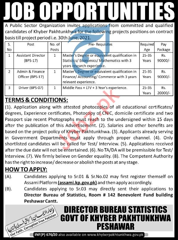 Bureau of Statistics Jobs 2020 For Peshawar KPK