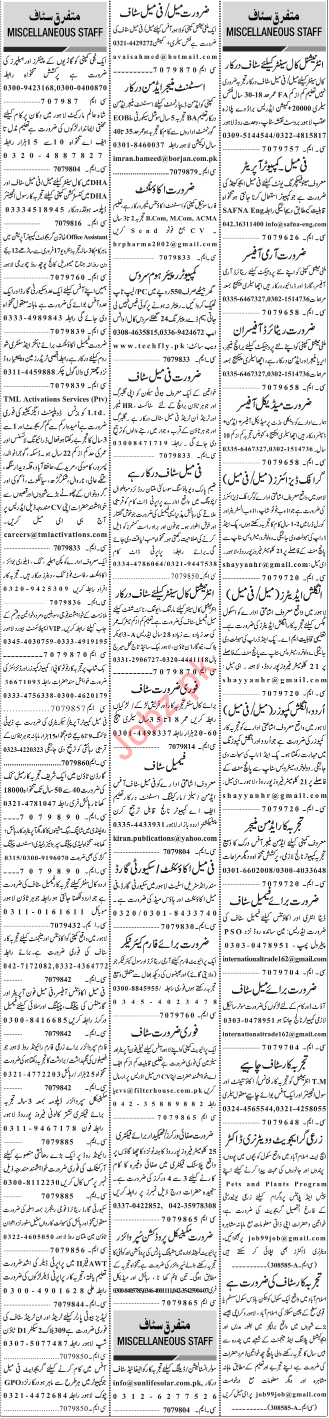 Jang Sunday 16th February Management Staff Jobs in Lahore