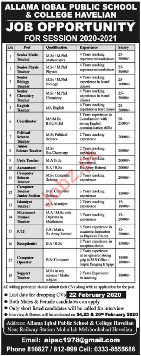 Allama Iqbal Public School & College Jobs 2020 in Havelian