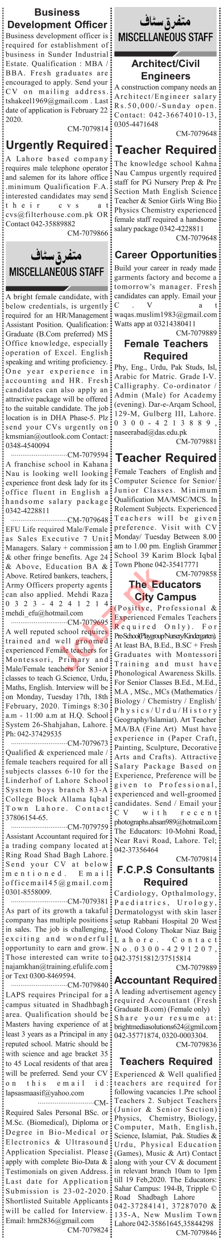 Jang Sunday 16th February Faculty & Office Staff Jobs in Lhr