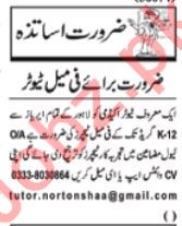 Tutors Jobs 2020 For Academy in Lahore