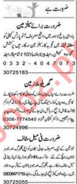 Express 16th February Management Staff Jobs 2020 in Lahore