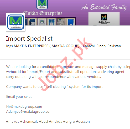 Import Specialist Job 2020 in Karachi