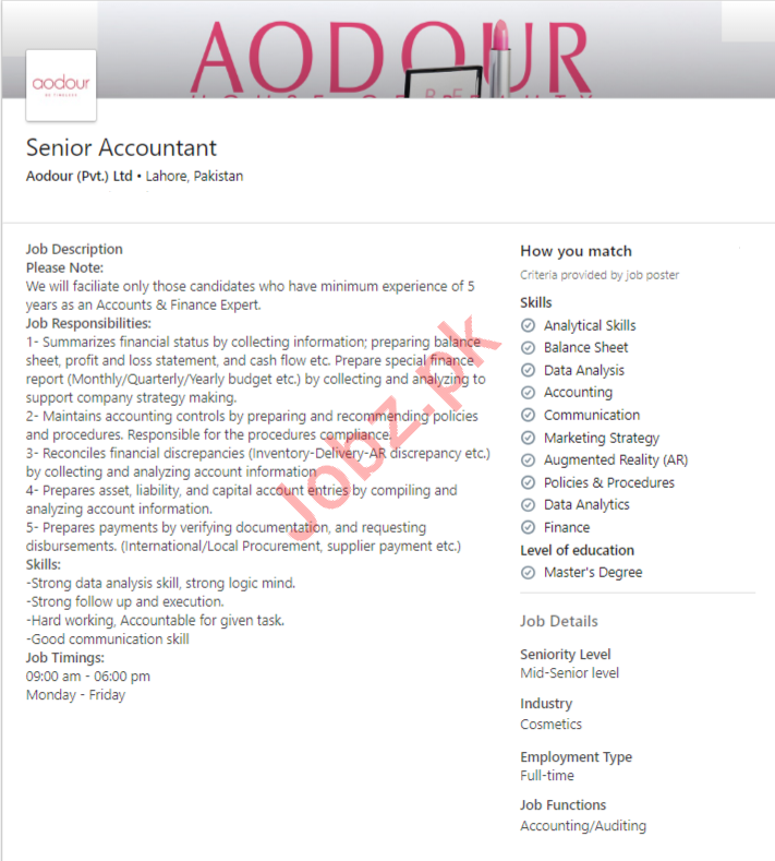 Aodour Cosmetic Lahore Jobs 2020 for Senior Accountant