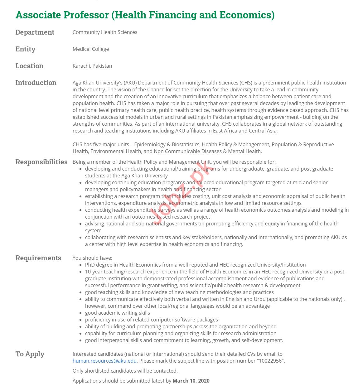 Aga Khan Medical College Associate Professsor Jobs 2020