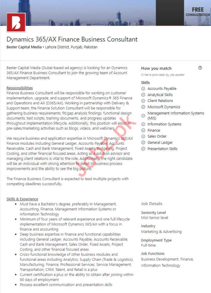 Bester Capital Media Lahore Jobs 2020