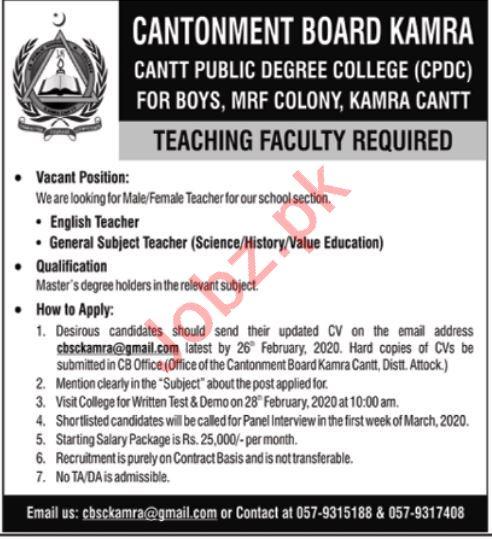 Cantonment Board Kamra Teaching Staff Jobs 2020