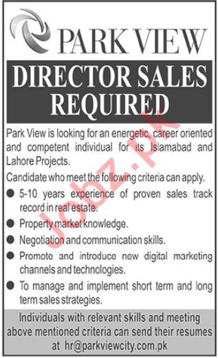Park View City Job For Director Sales in Islamabad & Lahore