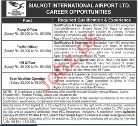 Sialkot International Airport Limited Jobs 2020