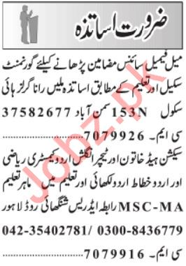 Daily Jang Newspaper Classified Teaching Jobs 2020
