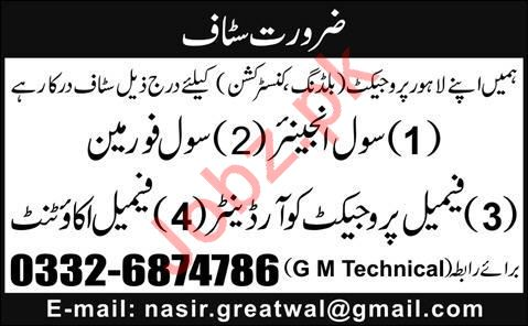 Construction Staff Jobs in Building Construction Project