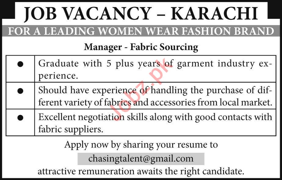 Fabric Sopurcing Manager Jobs in Women Wear Fashion Brand